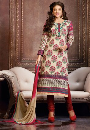 Diffusion Splendorous Cream Salwar Kameez