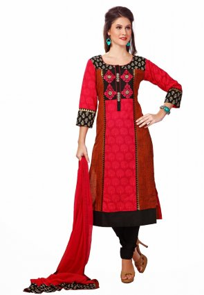 Diffusion Splendorous Orange And Red Salwar Kameez