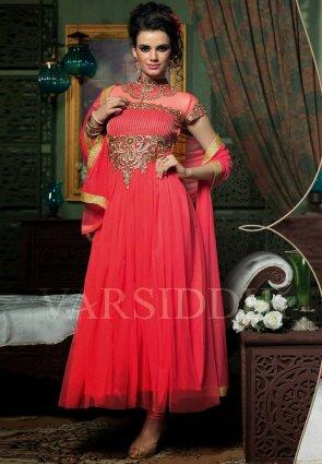 Diffusion Tranquil Deep Scarlet Red Salwar Kameez