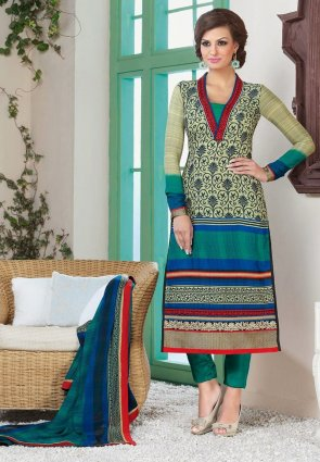 Diffusion Unique Buttercream And Jade Green Salwar Kameez