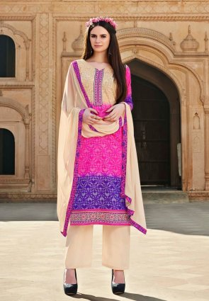 Diffusion Unique Deep Purple And Pink Salwar Kameez