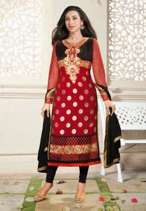 Diffusion Vivacious Black And Brick Red Salwar Kameez