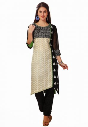 Diffusion Vivacious Black And Off White Salwar Kameez