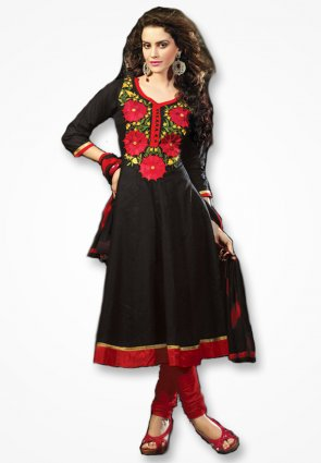 Rajshree Black And Rose Red Salwar Kameez