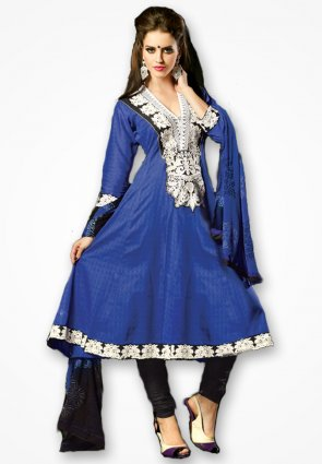 Rajshree Royal Blue And Silver Embroidered Salwar Kameez