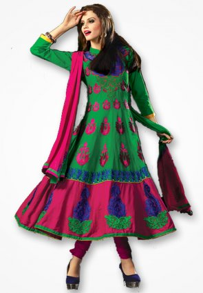 Rajshree Royal Green And Pink Salwar Kameez