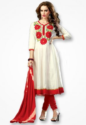 Rajshree Stylish White And Red Salwar Kameez