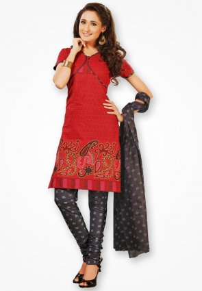 Surya Life Dark Red Fancy Design Dress Material