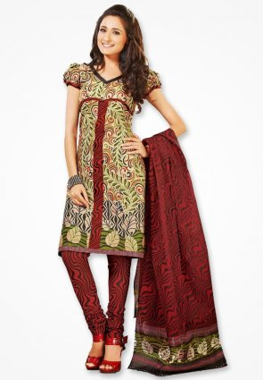 Surya Life Marun Corn Flower Dress Material