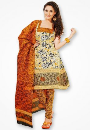 Surya Life Orange And Yellow Designer Dress Material