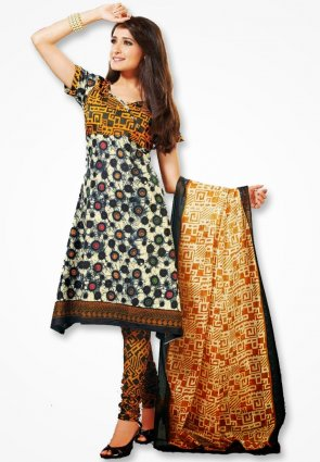 Surya Life Orange And Yellow Dress Material