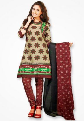 Surya Life Royal Red And Green Dress Material