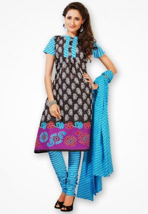 Surya Life Sky Blue And Black Fancy Dress Material