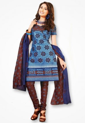 Surya Life Sky Blue Corn Flower Dress Material