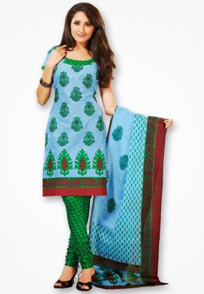 Surya Life Blue And Green Designer Dress Material