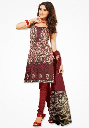 Surya Life Marun Designer Cotton Dress Material