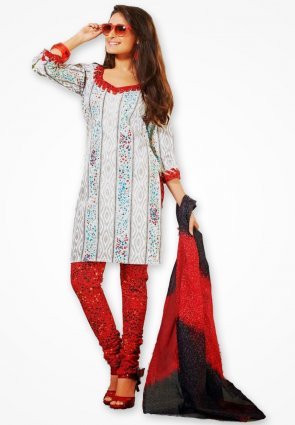 Surya Life White And Red Cotton Dress