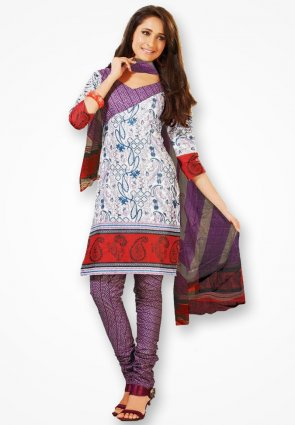 Surya Life White And Violet Dress Material