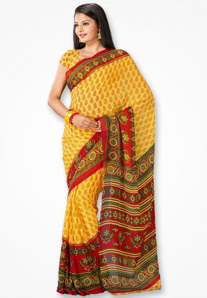 Rajshree Stylish Yellow And Red Printed Saree