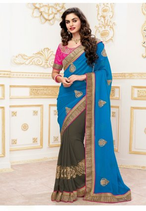 Diffusion Adorable Ash Gray And Azure Blue Embroidered Saree