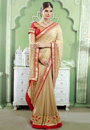 Diffusion Adorable Beige Embroidered Saree