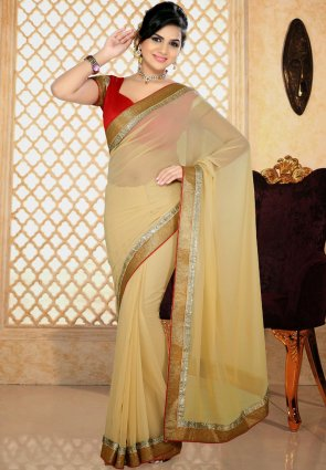 Diffusion Adorable Beige Printed Saree