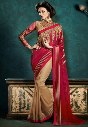 Diffusion Adorable Beige And Brick Red Embroidered Saree