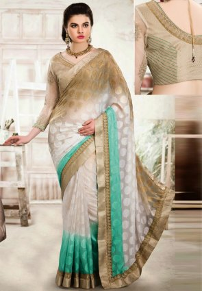Diffusion Adorable Beige And Off White Embroidered Saree
