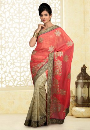 Diffusion Adorable Beige And Tomato Embroidered Saree