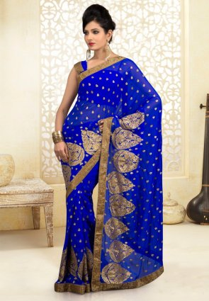 Diffusion Adorable Blue Embroidered Saree