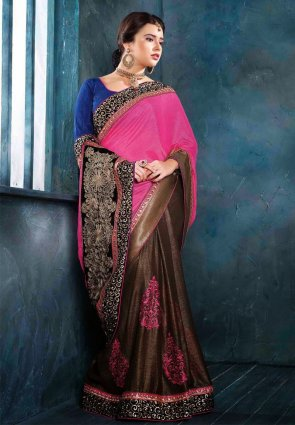 Diffusion Adorable Brown And Pink Embroidered Saree