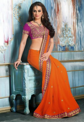 Diffusion Adorable Deep Deep Orange Embroidered Saree