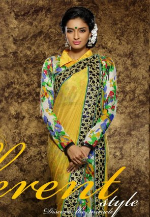 Diffusion Adorable Off White And Yellow Embroidered Saree