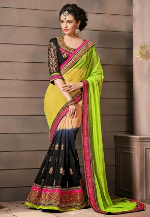 Diffusion Aesthetic Apricot And Yellow Embroidered Saree