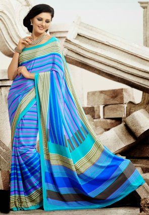 Diffusion Aesthetic Aqua Blue And  Blue Printed Saree