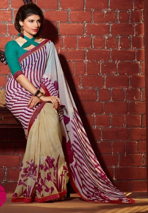 Diffusion Aesthetic Beige And Off White Printed Saree