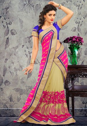 Diffusion Aesthetic Beige And Pink Embroidered Saree