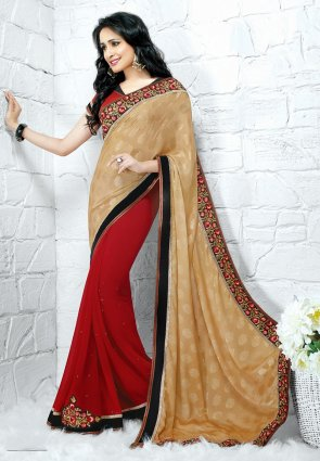 Diffusion Aesthetic Beige And Red Embroidered Saree