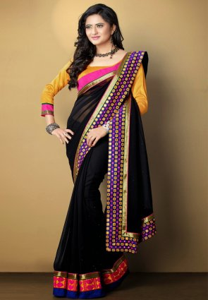 Diffusion Aesthetic Black Embroidered Saree