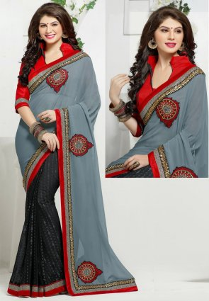 Diffusion Aesthetic Black And Gray Embroidered Saree
