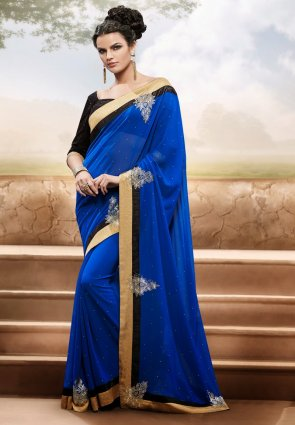 Diffusion Aesthetic Blue Embroidered Saree
