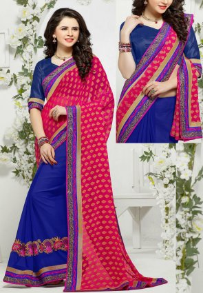 Diffusion Aesthetic Blue And Pink Embroidered Saree