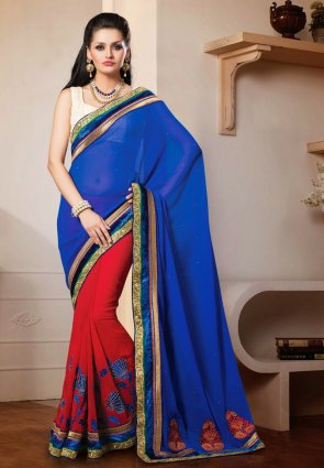 Diffusion Aesthetic Blue And Red Embroidered Saree