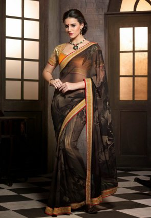 Diffusion Aesthetic Brown Embroidered Saree