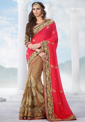 Diffusion Aesthetic Brown And Red Embroidered Saree