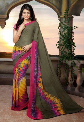 Diffusion Aesthetic Brown And Yellow Embroidered Saree