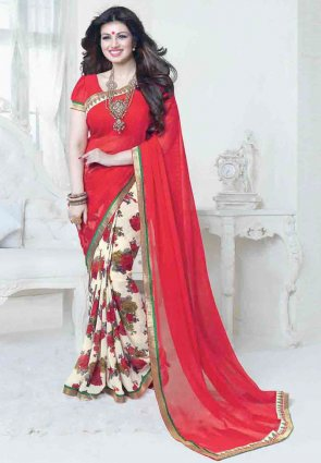 Diffusion Aesthetic Buttercream And Red Embroidered Saree