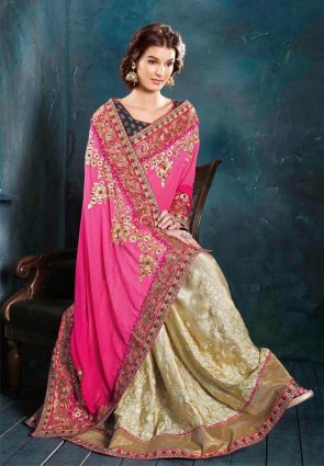 Diffusion Aesthetic Cream And Pink Embroidered Saree