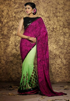 Diffusion Aesthetic Deep Honeydew And Magenta Embroidered Saree
