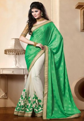 Diffusion Aesthetic Green And Off White Embroidered Saree